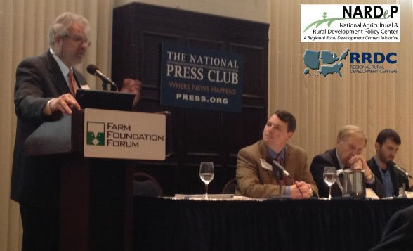 PICTURED: Larry Sanders presents the White Paper he co-authored with Shannon Ferrell at the National Press Club in Washington, DC on April 13, 2013. The event was sponsored by Farm Foundation.