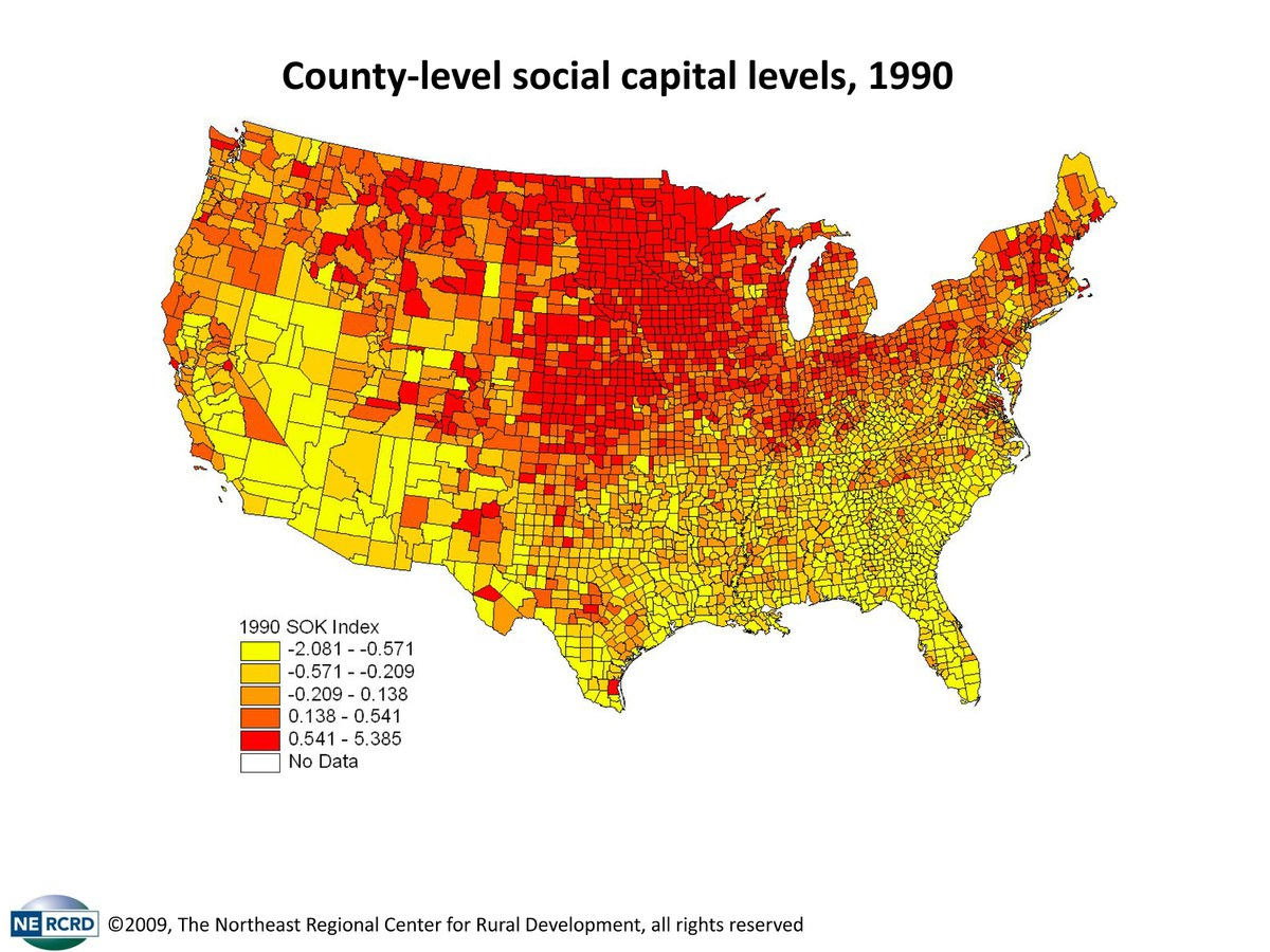 Social Capital Maps  Northeast Regional Center For Rural - Map of northeast us capitals