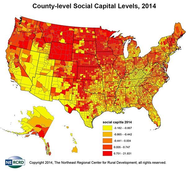 2014 social capital county-level map