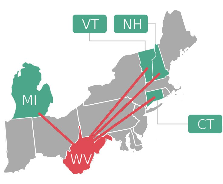 A map showing the states involved in the First Impressions team funded by NERCRD. States include WV, CT, VT, MI, NH.