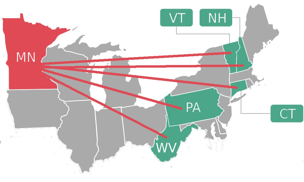 Map showing states involved in Futures Team funded by NERCRD. States include VT, CT, WV, MN, NH, PA.
