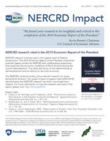 A screenshot of the printer-friendly version of NERCRD Impact No. 2019-1: NERCRD Research Cited in 2019 Economic Report of the President.