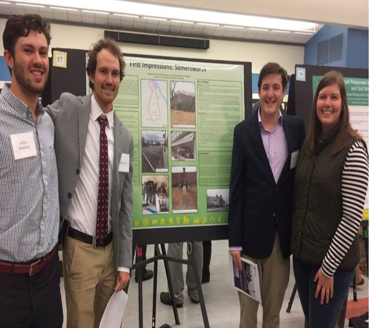 Casey Hancock (far right) with three members of the Planning Student Organization who presented a poster on their FI work at the Undergraduate Research Conference.