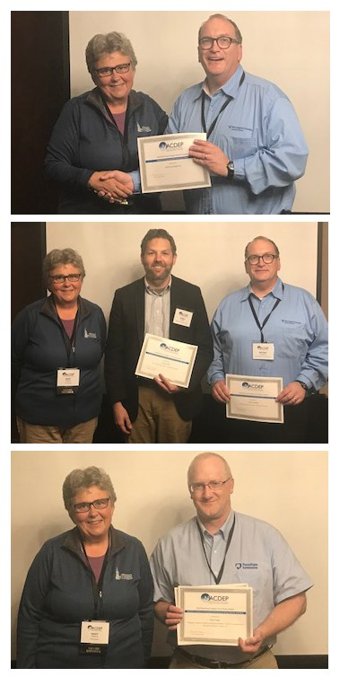 Mary Peabody presented Michael Dougherty (top), Daniel Eades and Dougherty (middle), and Neal Fogle (bottom) with NACDEP awards at the Northeast regional meeting in Cleveland, OH. Images provided by Mary Peabody.