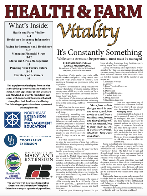 Farm Vitality and Health was a special insert developed for The Delmarva Farmer, a weekly newspaper for farmers and agriculture industry professionals in Delaware, Maryland and Virginia.