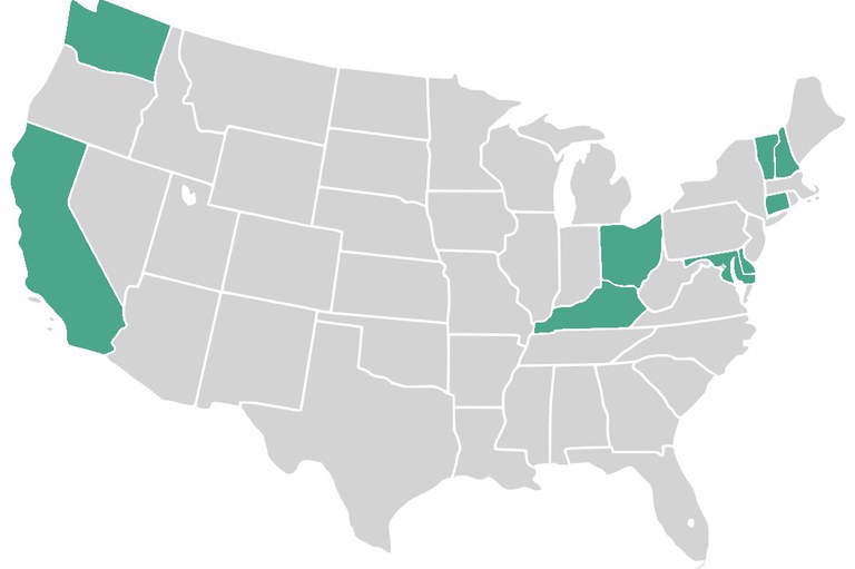 Twenty-two people from nine states are participating in the Center-funded projects. Map: Paul Robinson via Wikimedia Commons.