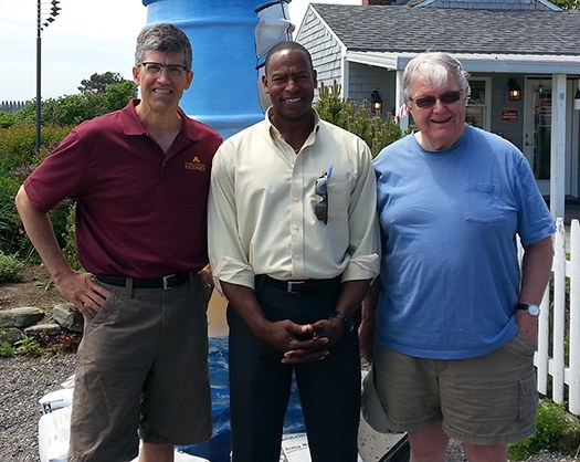 George Morse, on the right, posing with colleagues Michael Darger (left) and Andre Garron (center) during a visit in Cape Elizabeth, Maine. Photo courtesy of Michael Darger.