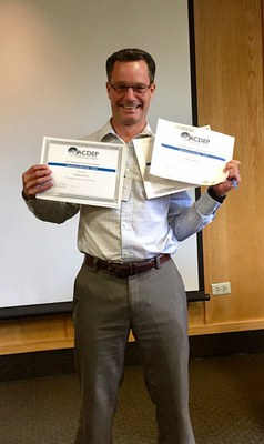 Charlie French from the University of New Hampshire accepted award certificates for the NACDEP 2017 Northeast Educational Materials Award, for the Impact Indicators Tip Booklet that he, George Morse, and Scott Chazdon co-authored.