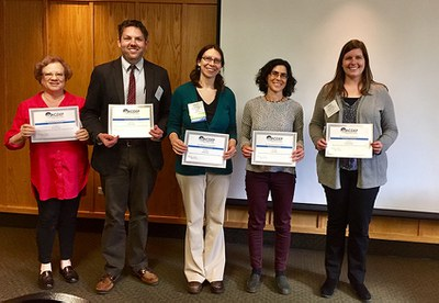 "Some members of the Northeast Center-funded team posing with their ""Excellence in Teamwork"" award at the 2017 NACDEP conference. From left: Allison Nichols, Daniel Eades, Laura Brown, Lisa Chase, and Casey Hancock."
