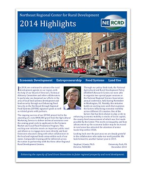 Screenshot of cover of condensed version of the 2014 NERCRD annual report. Shows a thriving small downtown, and features a letter from the director.