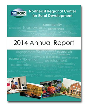 Screenshot of cover of the 2014 NERCRD annual report. Green, with faded wordcloud in background, and montage of scenes from Northeast US.