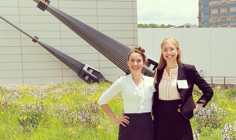 ..  Hayly Hoch, left, and Alyssa Gurklis completed a 10-week summer internship with Penn State Extension-Allegheny County in 2015.