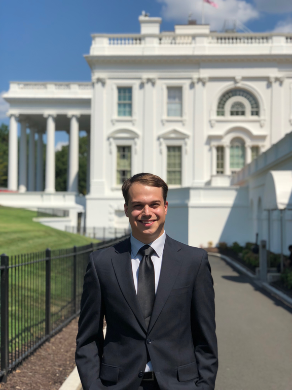 Tony Rice, a senior in agribusiness management in Penn State's College of Agricultural Sciences, was an intern at the White House and in the Office of the U.S. Trade Representative.   IMAGE: Courtesy Tony Rice