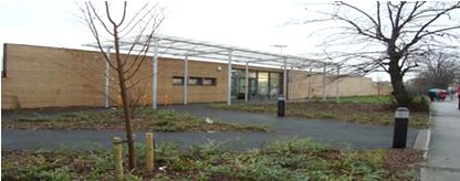 Acacia Intergenerational Center (Merton, London). View from the outside entry point.