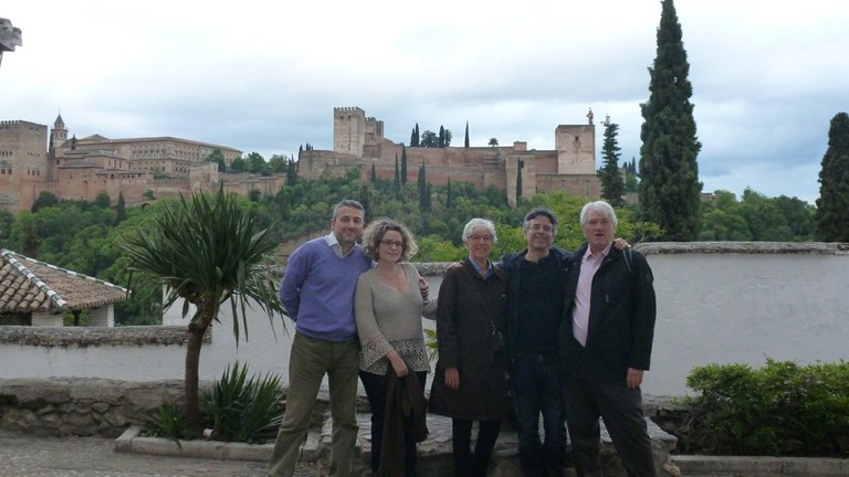A break between meetings in Granada, Spain (Alhambra in the background). Pictured left to right: Mariano Sanchez (University of Granada, and project coordinator), Christina Sanchez, Cathy Whitehouse, Matt Kaplan, & Peter Whitehouse. Photo: Carolyn Reyes.
